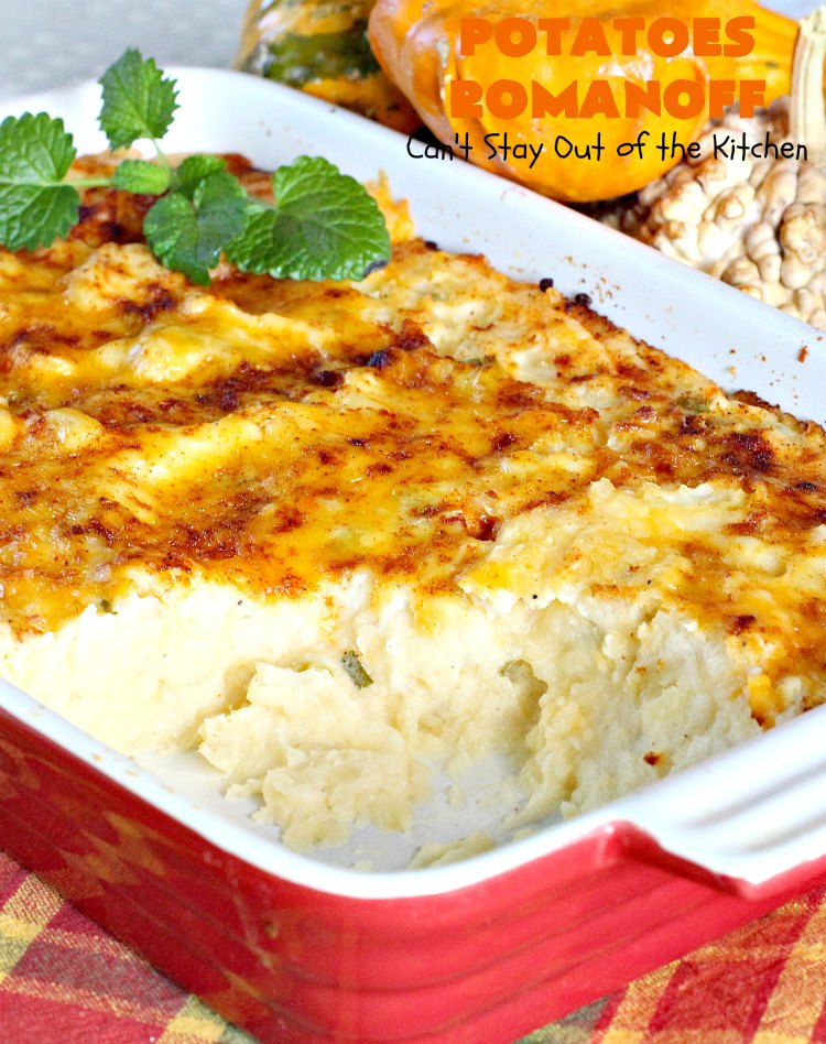 Potatoes Romanoff | Can't Stay Out of the Kitchen | this easy #MashedPotatoes #casserole is made a day before cooking it, making it perfect for #holidays like #Thanksgiving or #Christmas since you can make it ahead. It's one of our favorite ways to serve #potatoes. #glutenfree #cheddarcheese