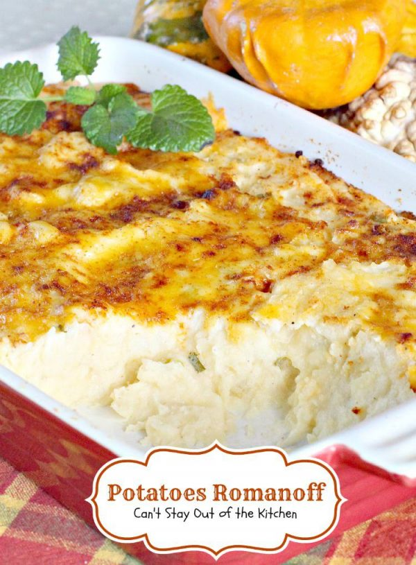 Potatoes Romanoff | Can't Stay Out of the Kitchen | fabulous #sidedish especially for #holidays. This easy recipe can be made in advance. #glutenfree #potatoes