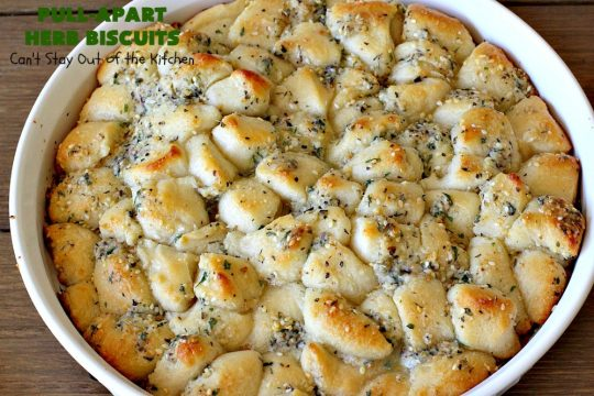 Pull-Apart Herbed Biscuits | Can't Stay Out of the Kitchen | this fantastic pull-apart #MonkeyBread is easy & delightful. The savory herb flavors make this a dynamic #bread to serve as a side for any main dish. Great for company or #holiday dinners too. #PullApartHerbedBiscuits