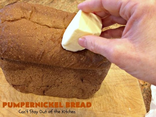 Pumpernickel Bread | Can't Stay Out of the Kitchen | This delicious home-baked #bread is so easy since it's made in the #breadmaker. #Pumpernickel is a #SourdoughBread made with #RyeFlour. It's excellent as a dinner bread with any entree. We like to serve it for #breakfast with Apple Butter or jelly. #HomeMadeBread #HomeBakedBread #PumpernickelBread