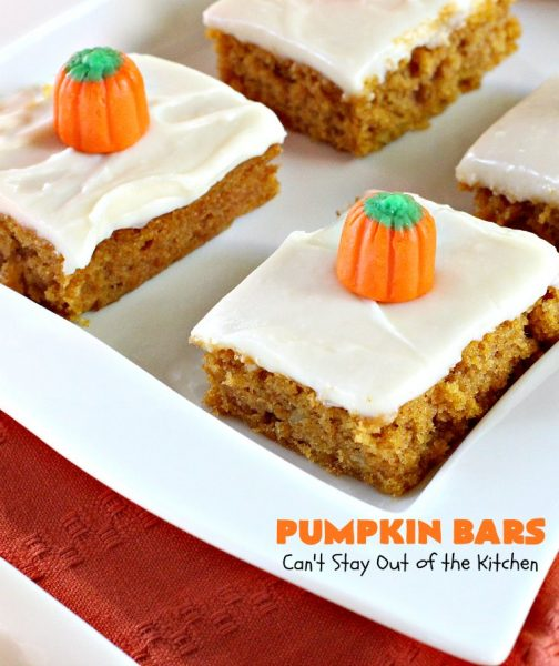 Pumpkin Bars | Can't Stay Out of the Kitchen | sensational #dessert for #fall #baking. The #creamcheese frosting is heavenly. #pumpkin #cookie