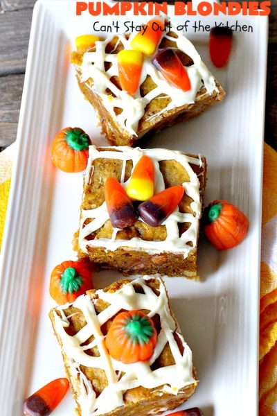 Pumpkin Blondies | Can't Stay Out of the Kitchen | these spectacular #cookies are filled with #butterscotch chips, white #chocolate chips, #pumpkin and #pecans. #CandyCorns at the top and a white chocolate glaze make them absolutely irresistible. #brownies #fall #FallBaking #holidays #dessert #ThanksgivingDessert #pumpkindessert