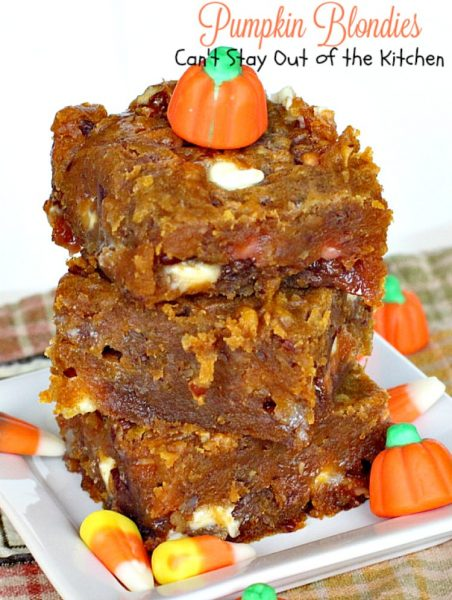 Pumpkin Blondies | Can't Stay Out of the Kitchen | These dynamite #dessert #cookies are made with #pumpkin, #butterscotch chips and white #chocolate chips. They are divine! Great for #holiday baking.