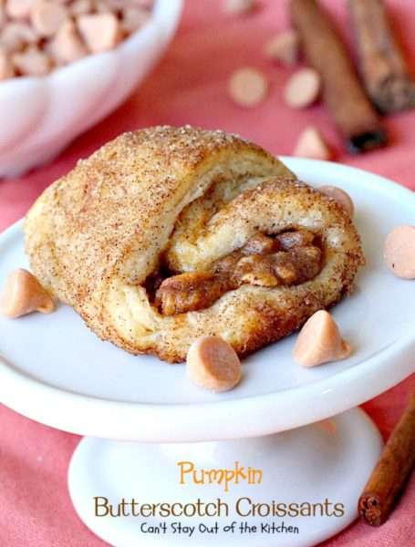 Pumpkin Butterscotch Croissants | Can't Stay Out of the Kitchen | These fabulous #croissants are wonderful for the #holidays -- everyone loves them! They're so easy since they're made with #crescentrolls. #pumpkin #butterscotch #breakfast