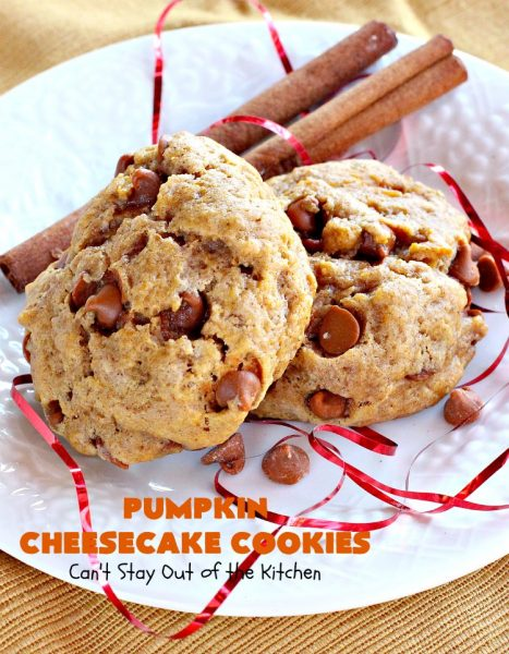 Pumpkin Cheesecake Cookies | Can't Stay Out of the Kitchen | these spectacular #cookies include #pumpkin, #CheesecakeJellO & #CinnamonChips. They have explosive flavor & are perfect for #holiday parties or a #ChristmasCookieExchange. Also great for #FallBaking. #fall #dessert #cheesecake #PumpkinDessert #PumpkinCheesecakeCookies #cinnamon
