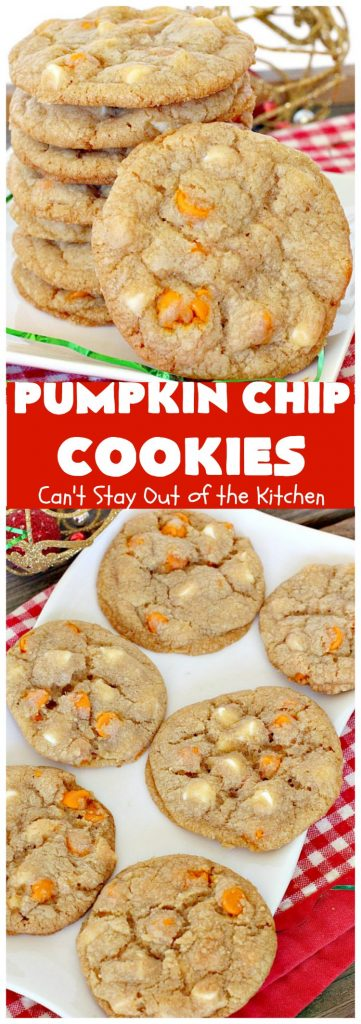 Pumpkin Chip Cookies | Can't Stay Out of the Kitchen | these heavenly #cookies use #pumpkin 'n spice chips & vanilla chips. They are absolutely divine! Perfect for #fall or #holiday baking. #dessert