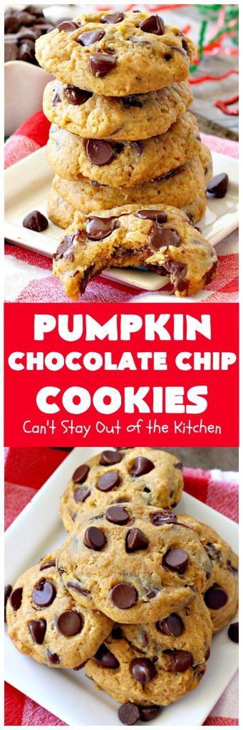 Pumpkin Chocolate Chip Cookies | Can't Stay Out of the Kitchen | these #pumpkin #cookies are utterly delightful. They're filled with #chocolate chips & delicately seasoned with #cinnamon & pumpkin pie spice. Terrific for #holiday baking. #dessert