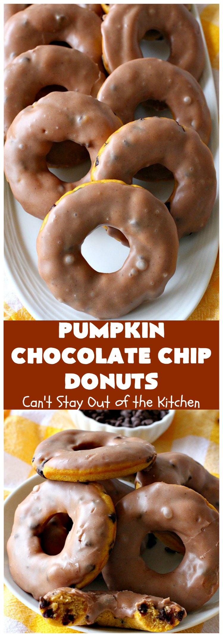 Pumpkin Chocolate Chip Donuts | Can't Stay Out of the Kitchen