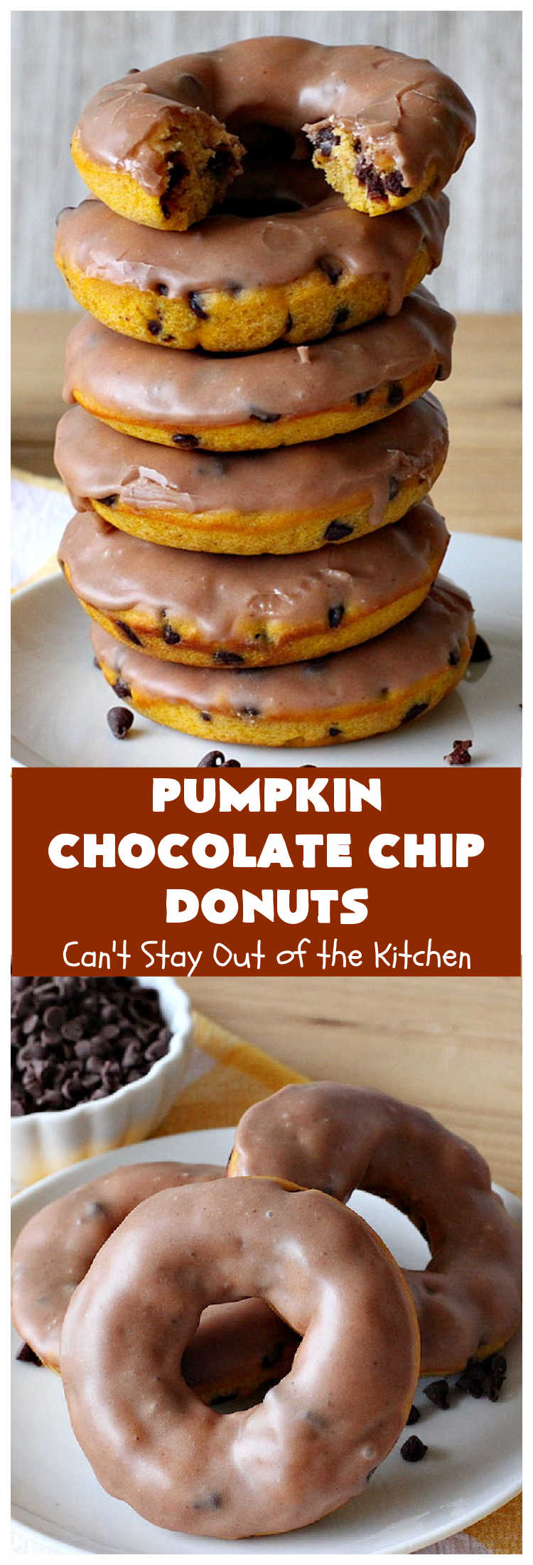 Pumpkin Chocolate Chip Donuts | Can't Stay Out of the Kitchen | these phenomenal #donuts are so mouthwatering. They have double the #chocolate & double the #pumpkin flavor. You'll be drooling over every mouthful. Highly recommended for #Thanksgiving or #Christmas #Breakfast. #Holiday #HolidayBreakfast #PumpkinDonuts #ChocolateChipDonuts #fall #FallBaking #PumpkinChocolateChipDonuts #ChocolateChips