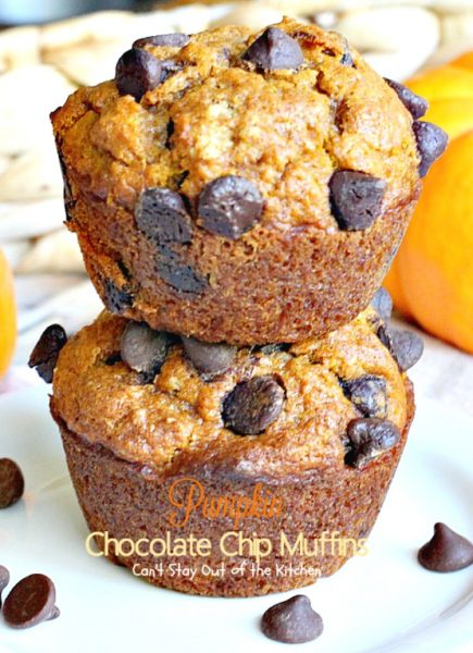 Pumpkin Chocolate Chip Muffins | Can't Stay Out of the Kitchen | these #muffins are so delectable you will devour them in no time. Excellent for a #holiday #breakfast, too. #pumpkin #chocolate