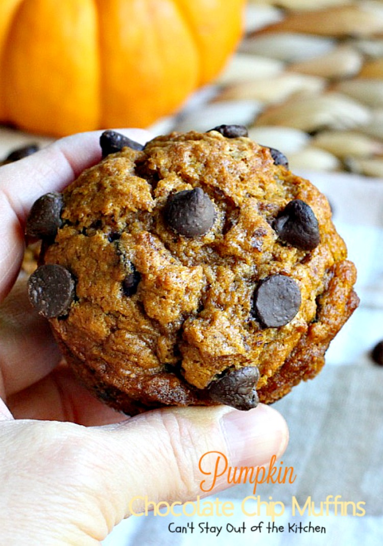 Pumpkin Chocolate Chip Muffins - Can't Stay Out of the Kitchen