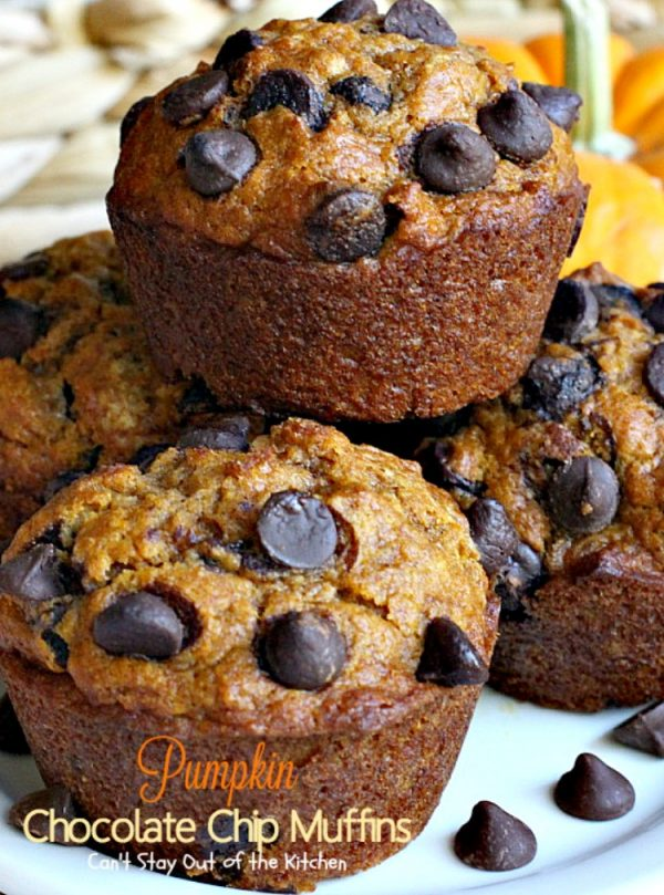 Pumpkin Chocolate Chip Muffins | Can't Stay Out of the Kitchen