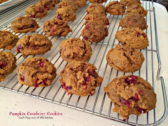 Pumpkin Cranberry Cookies | Can't Stay Out of the Kitchen | these lovely #christmas #cookies are filled with #pumpkin, #cranberries and have a fabulous #cinnamon #buttercream frosting. #dessert