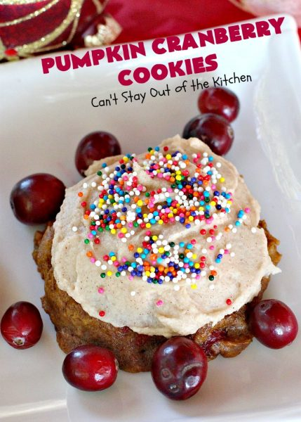 Pumpkin Cranberry Cookies | Can't Stay Out of the Kitchen | these favorite #Christmas #cookies use #pumpkin, fresh #cranberries & have a #cinnamon frosting on top with #sprinkles! Terrific #dessert for #fall baking.