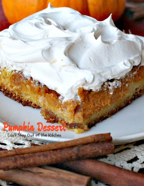 Pumpkin Dessert | Can't Stay Out of the Kitchen | this marvelous #dessert has always been a family favorite. We love making it for the #holidays. So much easier than #pumpkinpie, too! #pumpkin