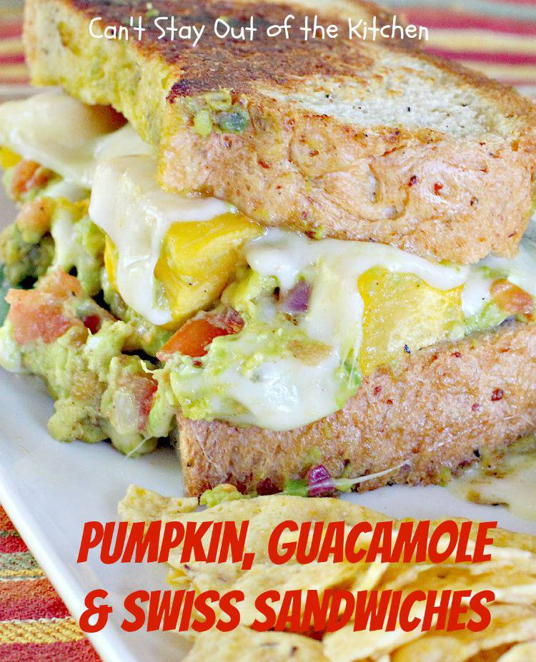 Pumpkin, Guacamole and Swiss Sandwiches