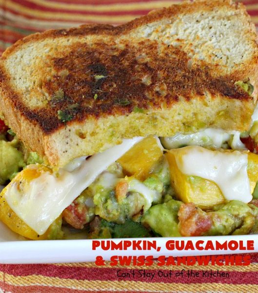 Pumpkin, Guacamole and Swiss Sandwiches | Can't Stay Out of the Kitchen | these yummy #sandwiches are made with either roasted #pumpkin or #ButternutSquash, homemade #guacamole & #SwissCheese. They are absolutely mouthwatering & so delicious you'll find yourself wanting one all the time! #Fall #RoastedPumpkin #PumpkinGuacamoleAndSwissSandwiches #MeatlessMonday