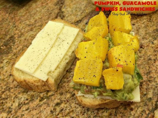 Pumpkin, Guacamole and Swiss Sandwiches   Can't Stay Out of the Kitchen   these yummy #sandwiches are made with either roasted #pumpkin or #ButternutSquash, homemade #guacamole & #SwissCheese. They are absolutely mouthwatering & so delicious you'll find yourself wanting one all the time! #Fall #RoastedPumpkin #PumpkinGuacamoleAndSwissSandwiches #MeatlessMonday