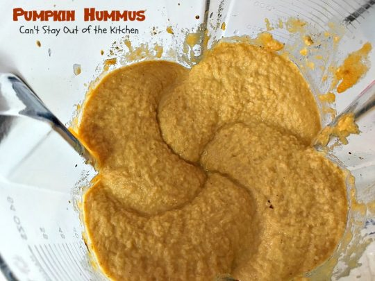 Pumpkin Hummus | Can't Stay Out of the Kitchen | this amazing #appetizer is perfect for #tailgating parties or the #SuperBowl! #Pumpkin is fabulous in #hummus.