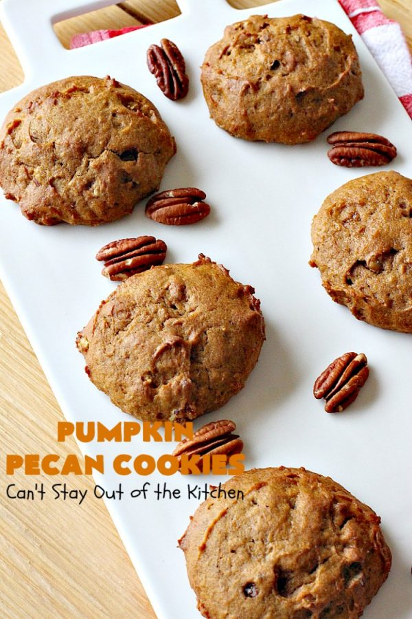Pumpkin Pecan Cookies | Can't Stay Out of the Kitchen | these lovely #Pumpkin #cookies are filled with all kinds of #Christmas spices & #pecans. They're absolutely mouthwatering & irresistible for your #holiday #baking needs, #ChristmasCookieExhanges or #tailgating parties through the #NewYear. #dessert #PumpkinDessert #PumpkinPecanCookies