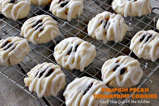Pumpkin Pecan Thumbprint Cookies | Can't Stay Out of the Kitchen | these delectable #cookies use a #pumpkin #pecan butter then they're glazed with a vanilla icing. They're wonderful for #holiday or #Christmas parties or #ChristmasCookieExchanges. #ChristmasCookie #WilliamsSonoma #PecanPumpkinButter #MuirheadPecanPumpkinButter #cookies #ThumbprintCookies #dessert #Fall #FallBaking #HolidayDessert #ChristmasDessert