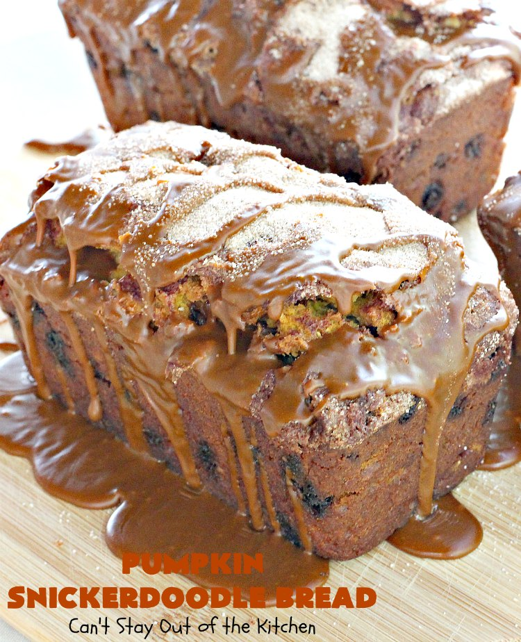 Pumpkin Snickerdoodle Bread | Can't Stay Out of the Kitchen | this is the best #pumpkin #bread ever! It's loaded with #cinnamon chips & cinnamon icing. It's a great twist on #snickerdoodle cookies or bread.