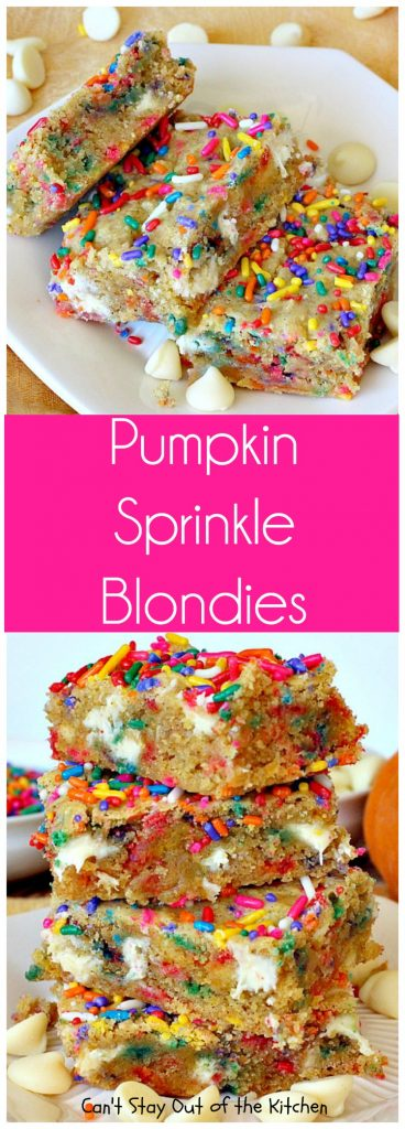 Pumpkin Sprinkle Blondies | Can't Stay Out of the Kitchen | These amazing blondies are so easy because they're made with a #pumpkin cake mix! Sprinkles & #whitechocolatechips make them fantastic. #dessert #chocolate #cookie