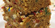 Pumpkin Sprinkle Blondies | Can't Stay Out of the Kitchen | amazing #pumpkin #blondies loaded with #whitechocolatechips and #sprinkles. These start with a Pumpkin Spice #cakemix. #dessert