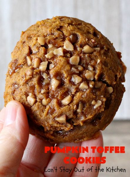 Pumpkin Toffee Cookies | Can't Stay Out of the Kitchen | these amazing #pumpkin #cookies have #HeathEnglishToffeeBits in the batter & on top. They are absolutely heavenly. Every bite will have you drooling. #dessert #PumpkinDessert #Toffee #ToffeeDessert #Fall #FallBaking #Christmas #ChristmasDessert #ChristmasCookieExchange #Thanksgiving #ThanksgivingDessert #NewYearsDay #NewYearsDayDessert #Tailgating