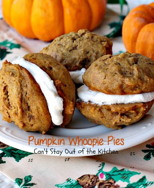 Pumpkin Whoopie Pies | Can't Stay Out of the Kitchen| these are the BEST #pumpkin #whoopiepies you've ever eaten. Rich, decadent and so scrumptious you won't be able to stop at just one! #cookie #dessert