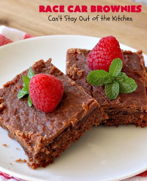 Race Car Brownies | Can't Stay out of the Kitchen | these rich, decadent #brownies are perfect for #NASCAR races, potlucks, soccer games, #tailgating or backyard barbecues. They have a rich, fudgy icing on top & they're made with #Hersheys #chocolate syrup. So delicious. #ChocolateDessert #NASCARDessert #dessert #Easter #EasterDessert