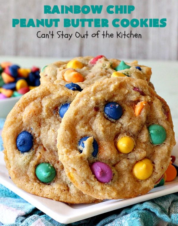 Rainbow Chip Peanut Butter Cookies | Can't Stay Out of the Kitchen | these fantastic #PeanutButterCookies include the addition of #RainbowChips for an amped up flavor to die for! #cookie #PeanutButter #ChristmasCookieExchange #dessert #Holiday #HolidayDessert #PeanutButterDessert #RainbowChipPeanutButterCookies