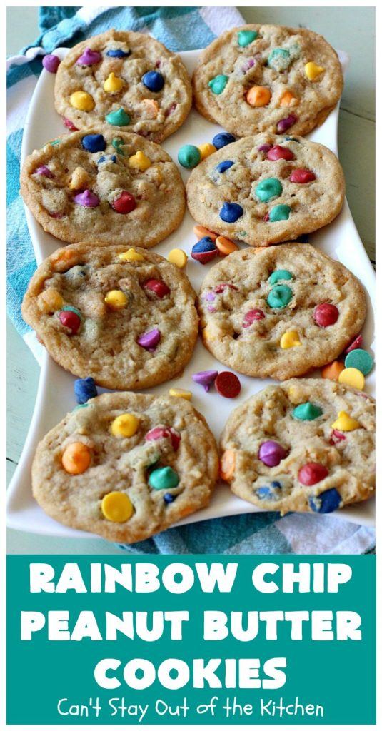 Rainbow Chip Peanut Butter Cookies   Can't Stay Out of the Kitchen   these fantastic #PeanutButterCookies include the addition of #RainbowChips for an amped up flavor to die for! #cookie #PeanutButter #ChristmasCookieExchange #dessert #Holiday #HolidayDessert #PeanutButterDessert #RainbowChipPeanutButterCookies