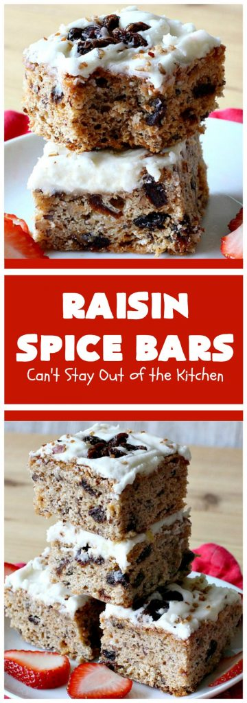 Raisin Spice Bars | Can't Stay Out of the Kitchen | these luscious #cookies are filled with #raisins & #pecans. Terrific #dessert any time of the year. They have a rich, #lemon buttercream icing. #brownie #RaisinSpiceBars #Tailgating #Holiday #HolidayDessert #ChristmasCookieExchange #SpiceCookies #RaisinCookies