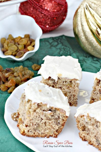 Raisin Spice Bars | Can't Stay Out of the Kitchen | these lovely #spice bars are cake-type #cookies filled with golden #raisins, #walnuts, cinnamon and nutmeg. Then they're iced with a #lemon #buttercream frosting. #dessert