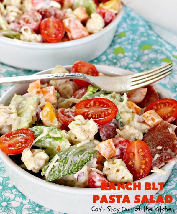 Ranch BLT Pasta Salad | Can't Stay Out of the Kitchen | awesome #pasta #salad with #ranchdressing. I used #turkey #bacon. Great for summer #holidays, potlucks or backyard #BBQs.