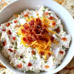 Ranch Bacon and Cheddar Dip | Can't Stay Out of the Kitchen | this is a fantastic 4-ingredient #recipe that will knock your socks off! Dry #RanchDressingMix adds so much flavor. #Bacon & #CheddarCheese make everything better! Terrific for #Tailgating parties, potlucks or backyard BBQs. #appetizer #TailgatingAppetizer #GlutenFree #GlutenFreeAppetizer #EasyAppetizer #4IngredientAppetizer