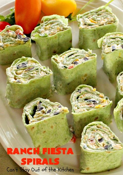 Ranch Fiesta Spirals | Can't Stay Out of the Kitchen | these fantastic #TexMex #appetizers are perfect for #tailgating, #NewYearsEve or #SuperBowl parties. They're filled with green #chilies, #olives, #cheese & bell peppers in a delicious #Ranch dressing cream cheese mix.