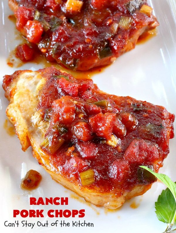 Ranch Pork Chops   Can't Stay Out of the Kitchen   these amazing #PorkChops are made with #RanchDressingMix, chili sauce, #tomatoes with diced green chilies & #PlumJelly. The sauce is spectacular. Delicious family or company dinner meal. #Pork #RanchPorkChops