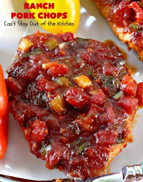 Ranch Pork Chops | Can't Stay Out of the Kitchen | these amazing #PorkChops are made with #RanchDressingMix, chili sauce, #tomatoes with diced green chilies & #PlumJelly. The sauce is spectacular. Delicious family or company dinner meal. #Pork #RanchPorkChops