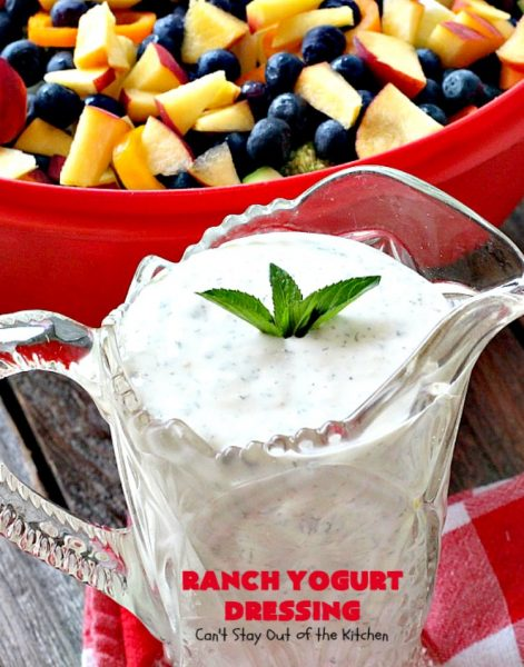 Ranch Yogurt Dressing | Can't Stay Out of the Kitchen | delicious homemade #salad dressing using homemade #Ranch dressing mix & #Greekyogurt. Easy & delicious. #glutenfree #cleaneating