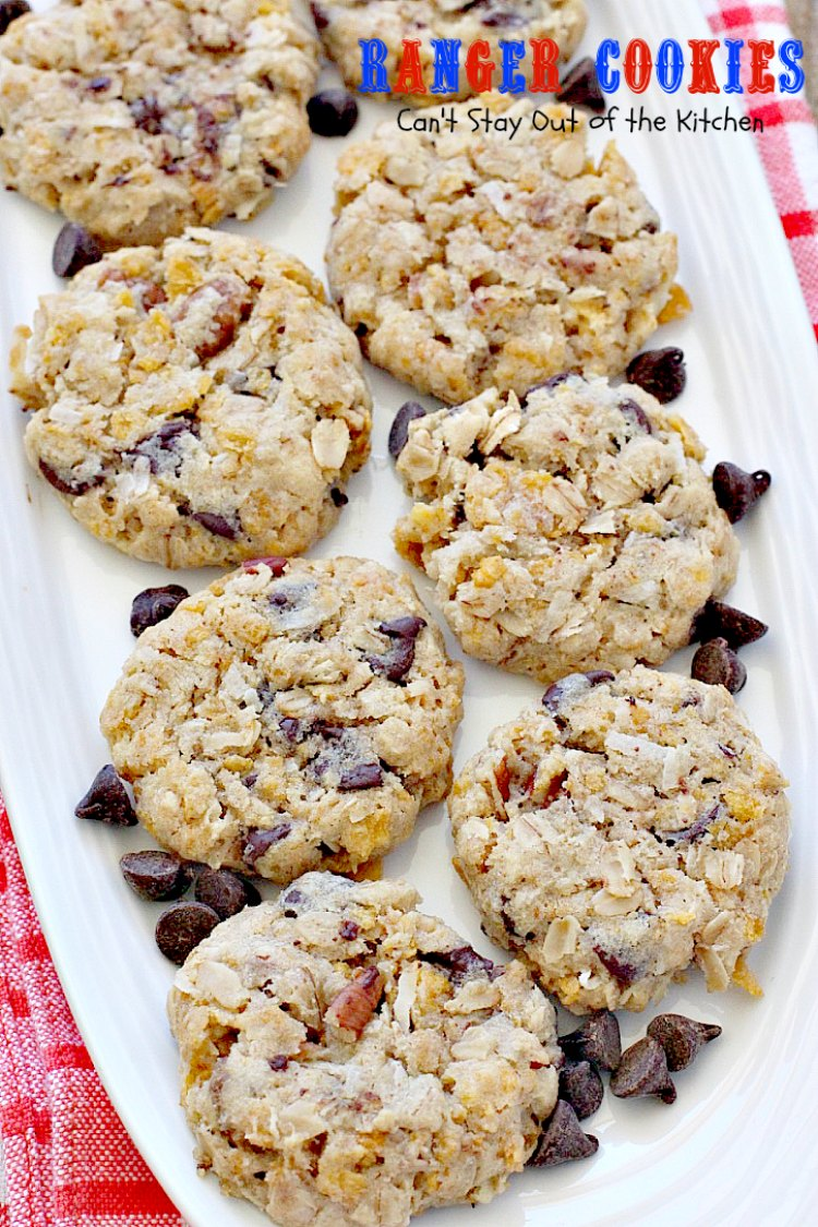 Ranger Cookies | Can't Stay Out of the Kitchen | these amazing #oatmeal #cookies contain #chocolatechips, #pecans, #coconut and #Kellogg'sCornFlakes! Excellent #dessert for any occasion.