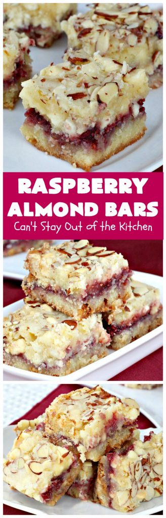 Raspberry Almond Bars | Can't Stay Out of the Kitchen | these irresistible #brownies are rich, decadent & absolutely sensational! They're perfect for #holiday & #Christmas #baking as they are so festive & beautiful. These layered #cookies use vanilla chips, #Raspberry preserves & #almonds. #holidaybaking #ChristmasCookieExchange #dessert #raspberrydessert