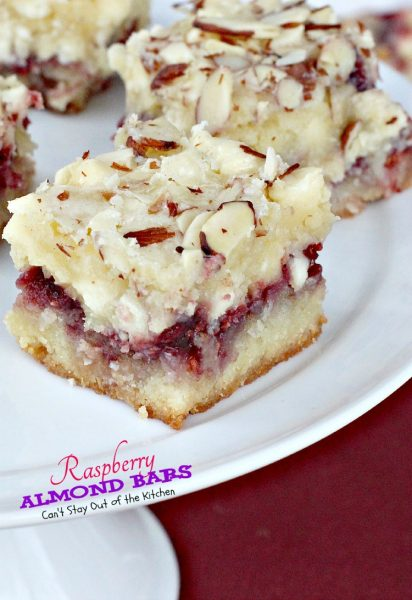 Raspberry Almond Bars | Can't Stay Out of the Kitchen