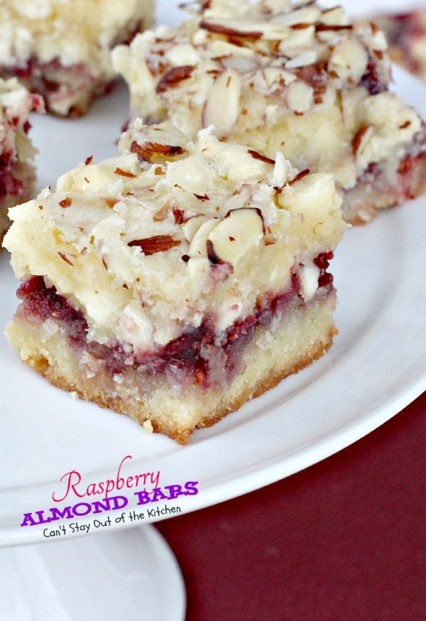 Raspberry Almond Bars | Can't Stay Out of the Kitchen | absolutely spectacular #cookies that are to die for! #almonds #raspberryjam #dessert #vanillachips
