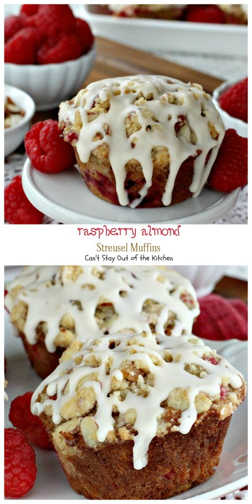 Raspberry Almond Streusel Muffins | Can't Stay Out of the Kitchen