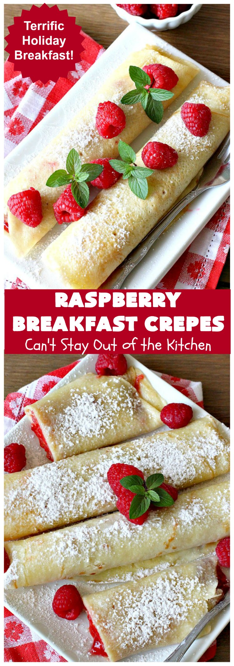 Raspberry Breakfast Crêpes | Can't Stay Out of the Kitchen | these fantastic #breakfast #crêpes are ooey, gooey, rich, decadent & divine! Every bite will have you drooling. Perfect for a #holiday breakfast. #raspberries #BreakfastCrêpes #RaspberryBreakfastCrêpes #HolidayBreakfast