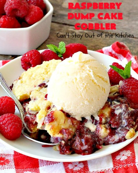 Raspberry Dump Cake Cobbler | Can't Stay Out of the Kitchen | this amazing #dumpcake uses #raspberry pie filling, #coconut & #almonds. It's the perfect treat for company, #holiday baking or potlucks. #dessert #cobbler