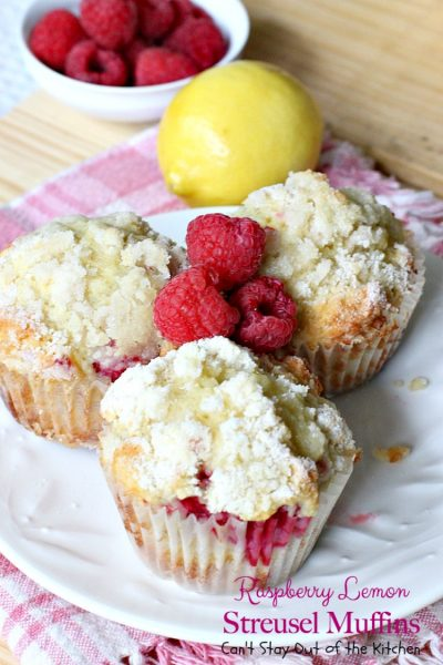 Raspberry Lemon Streusel Muffins | Can't Stay Out of the Kitchen | these delectable #muffins are a great #holiday favorite. Festive, beautiful and scrumptious! #raspberries #lemonyogurt #breakfast