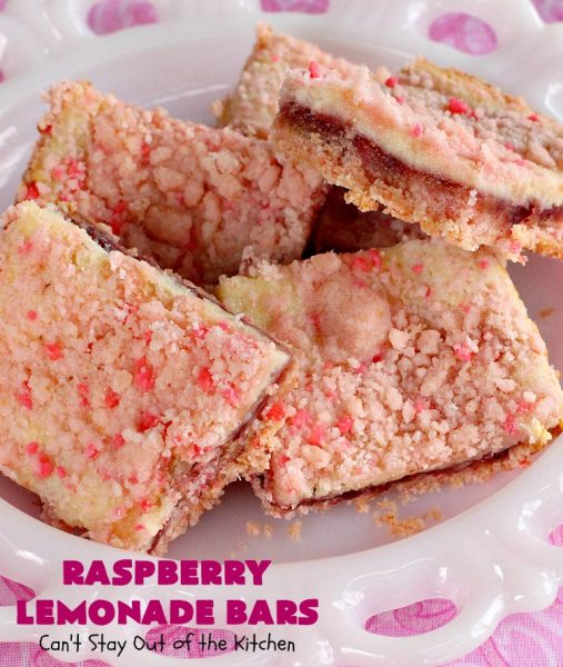 Raspberry Lemonade Bars | Can't Stay Out of the Kitchen | this heavenly 6-ingredient #recipe is perfect for #fall & #holiday #baking. It's especially good for #Christmas #cookie exchanges. It has a #raspberry preserves layer and a #cheesecake layer sandwiched between pink #lemonade cookie mix. So drool-worthy! #dessert #holidaydessert #Christmasdessert #raspberrydessert